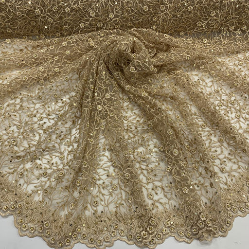 Gold - Floral Lace Beaded Fabric With Sequin On a Mesh By The Yard - IceFabrics