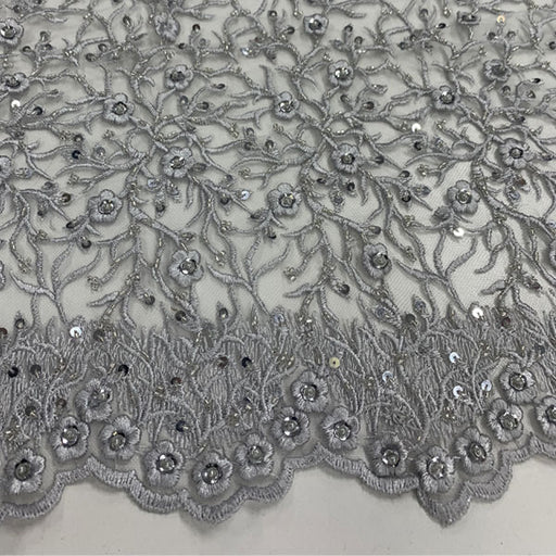 Gray - Floral Lace Beaded Fabric With Sequin On a Mesh By The Yard - IceFabrics