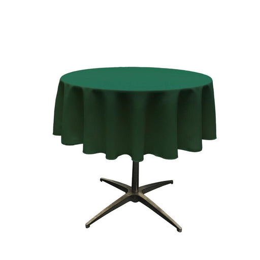 "51"" Hunter Green Polyester Round Tablecloth - IceFabrics"
