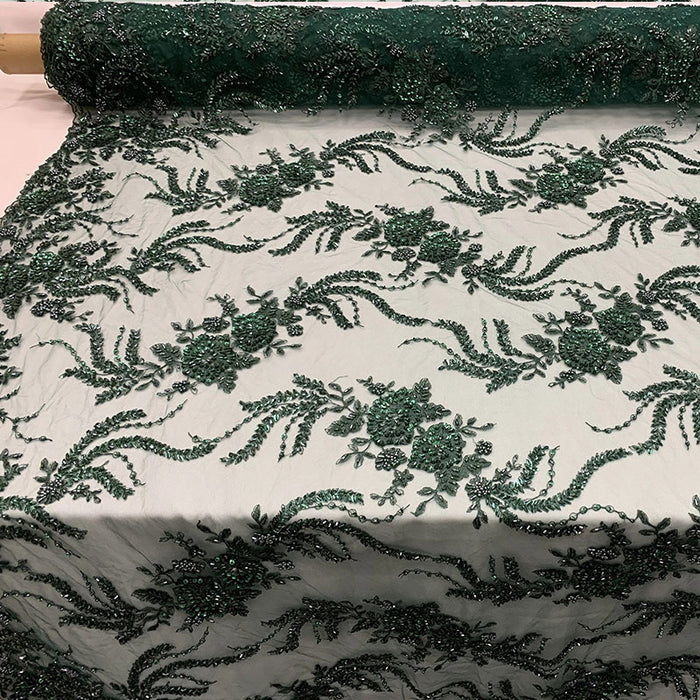 Hunter Green - FRENCH FLOWERS BEADED MESH LACE FABRIC BY THE YARD - IceFabrics