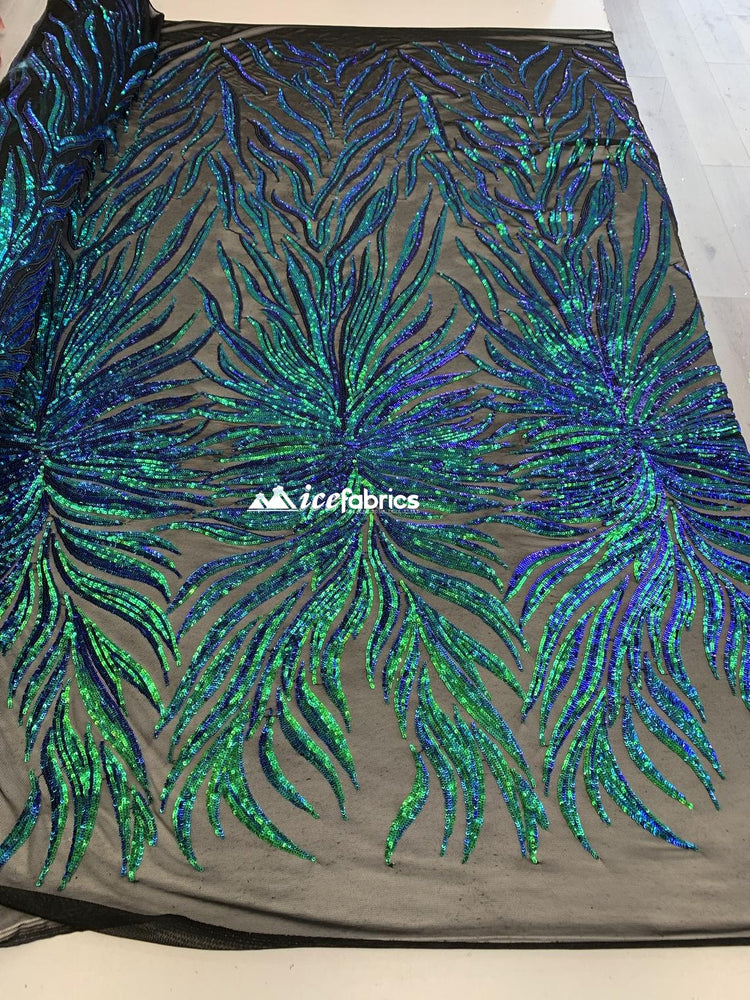 Iridescent Green Embroidery Stretch Sequins Fabric BTY