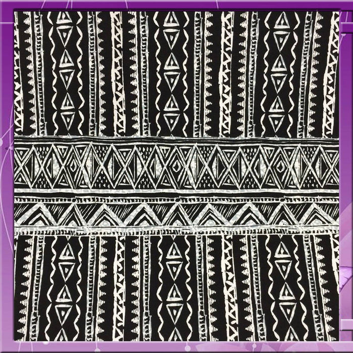100% Rayon Challis Black N White African Bintu Print 58 Inches Wide Fabric Sold by the Yard Black and White