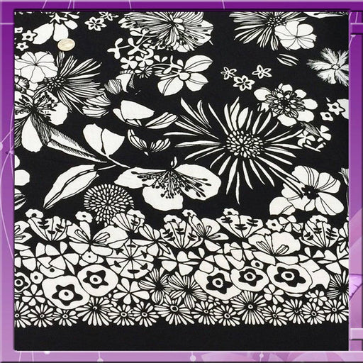 Rayon Challis Fabric Bordered Hawaiian Print Black N White Flowers Sold by the Yard tropical soft organic kids dress draping clothing - IceFabrics