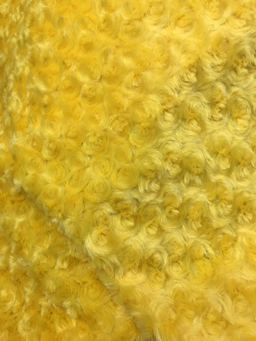 CANARY YELLOW - 58/60 inch Wide Rose/Rosette Minky Cuddle Fabric By The Yard - IceFabrics