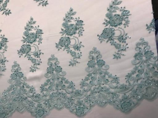Mint - Fashion Wedding Dress Sequins Beaded Bridal Mesh Lace - IceFabrics
