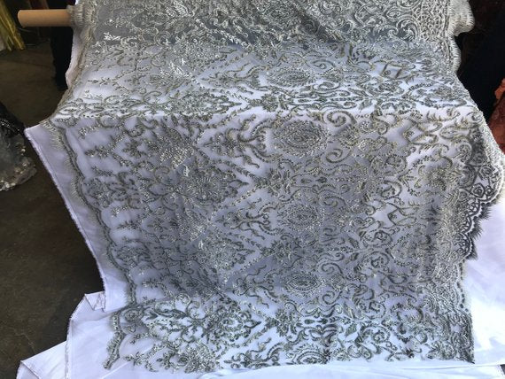 Silver Design Beaded Mesh Lace Fabric Bridal Wedding Sold By Yard clothing, jackets, dresses,skirts, applications, table covers, runners - IceFabrics