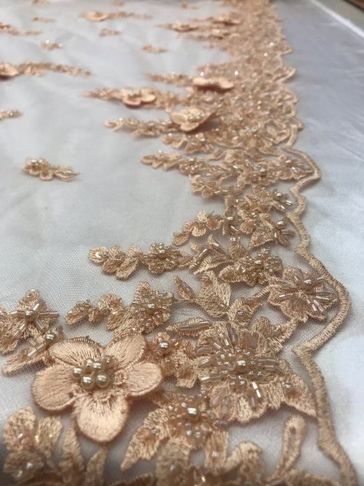 Peach - Bridal \ Wedding Beaded Mesh Lace Fabric - IceFabrics