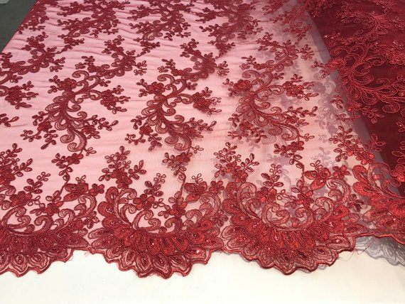Burgundy - Prom Design Transparent  Bridal Mesh Lace Embroidered Wedding Fabric - IceFabrics