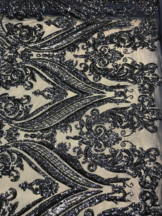 Navy Blue Arabic Design 4 Way Stretch Sequins By The Yard - IceFabrics