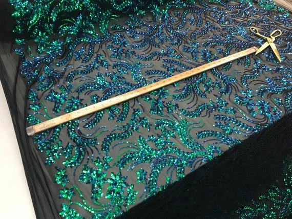 NEW Green Design sequins 4 way stretch on A MESH lace Sold By the yard for decorations fashion wedding prom dresses, tablecloths night gowns - IceFabrics