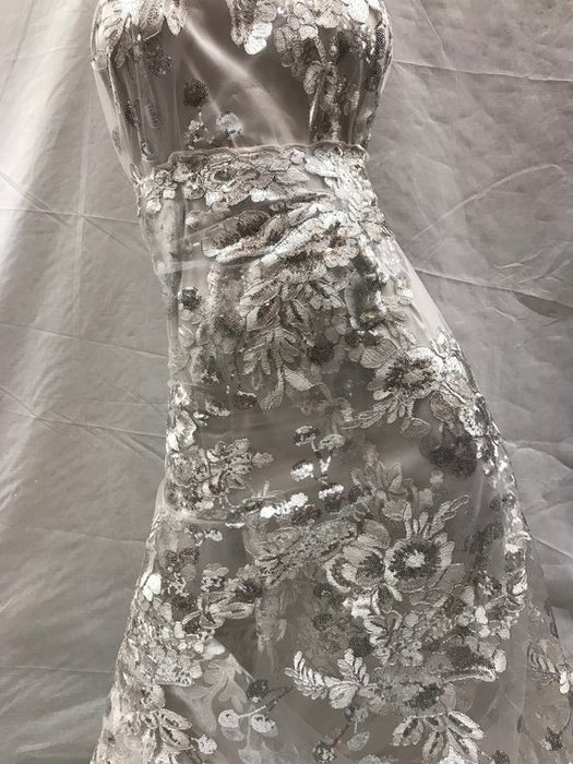 Off White - Design shop prom Bridal Design transparent Fabric Mesh lace Embroidered wedding decoration night gowns tablecloths fashion dresses - IceFabrics