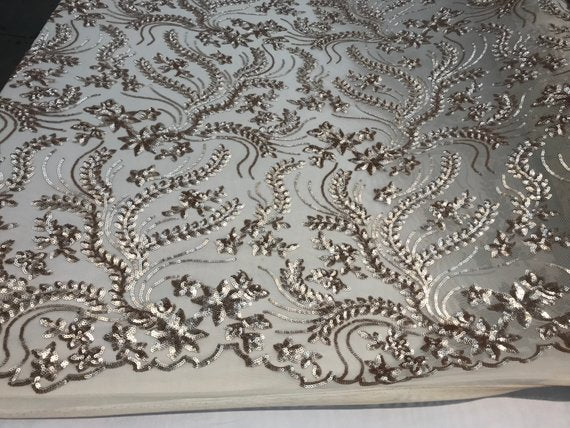 NEW Champagne Design sequins 4 way stretch on A MESH lace Sold By the yard for decorations fashion wedding prom dresses, tablecloths - IceFabrics