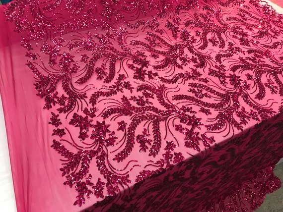 NEW Fuchsia Design sequins 4 way stretch on A MESH lace Sold By the yard for decorations fashion wedding prom dresses, tablecloth night gown - IceFabrics