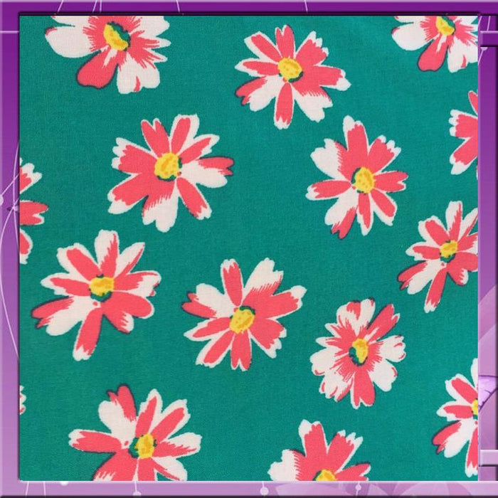 100% Rayon challis Pinkish flowers on Teal background 58 inche wide sold by the yard organic soft flowy kids fabric draping clothing - IceFabrics