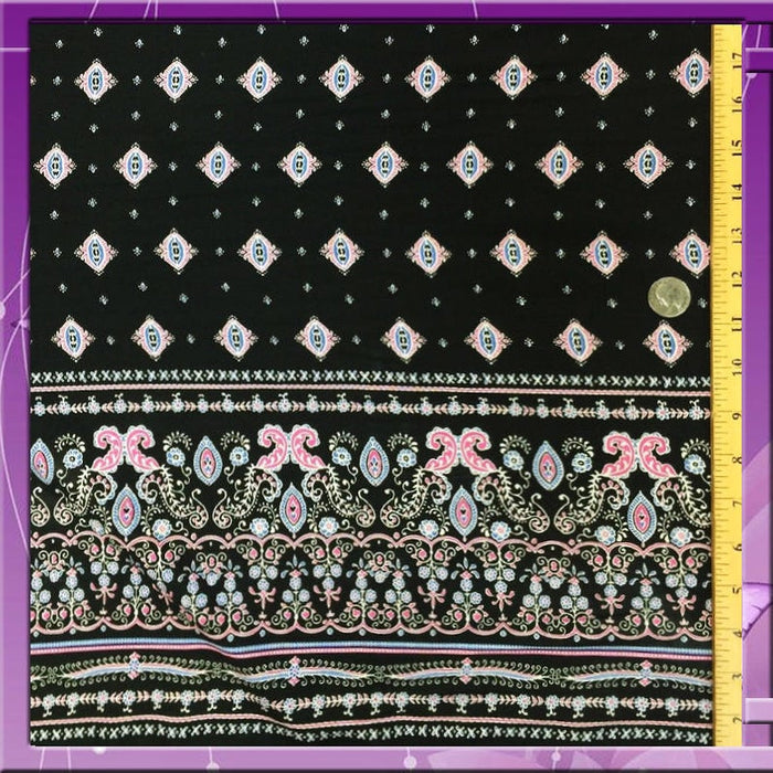 "100% Rayon challis One border Black Fuchsia 52"" / 54"" in w Fabric by the yard soft flowy organic kids dress draping decoration clothing - IceFabrics"
