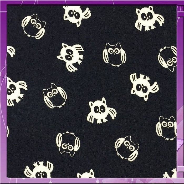 Rayon challis WHAT A HOOT owls on navy blue background 58 inches wide fabric sold by the yard soft organic fabric kids