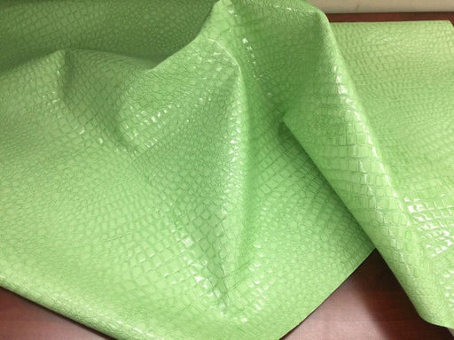 Mint - Frames, Pillows, Headboards, Various Projects, Purses, Shoe Shiny crocodile embossed faux leather vinyl fabric upholstery by yard - IceFabrics