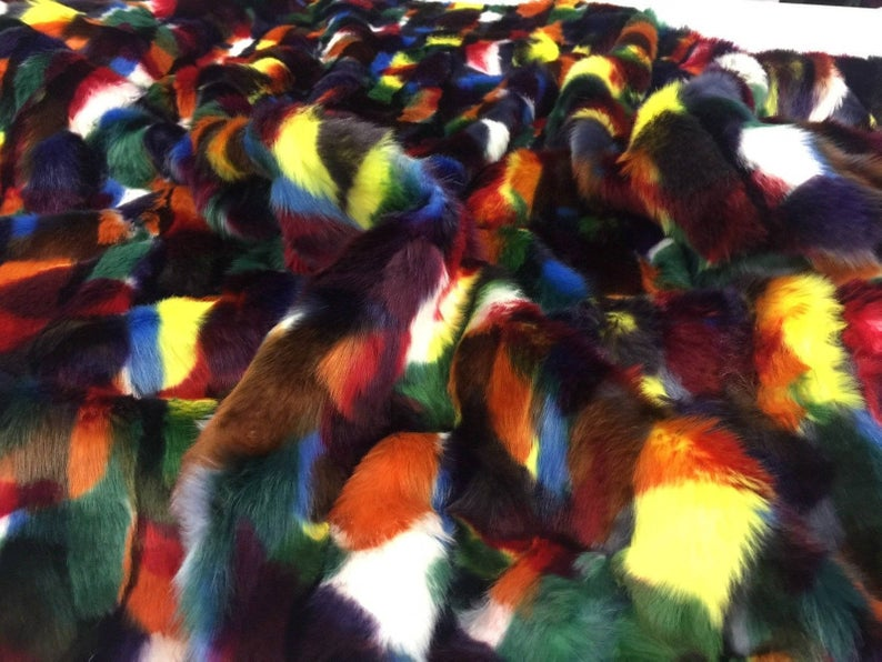 Fake Fur Coats Jackets Bedding Customs Blankets Faux Fur Fabric Multi color Yellow Green By Yard - IceFabrics