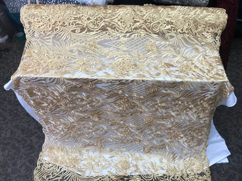 Gold- Design Beaded Mesh Lace Fabric Bridal Wedding Sold By Yard clothing, jackets, dresses,skirts, applications, table covers, runners - IceFabrics