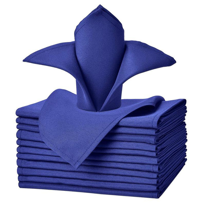 "Royal Blue - 20""x20"" Solid Polyester Washable Cloth Napkins For Wedding Party Restaurant Dinner Set of 12 Pieces - IceFabrics"