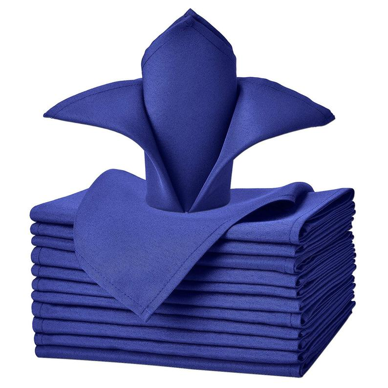 "Royal Blue - 20""x20"" Solid Polyester Washable Cloth Napkins For Wedding Party Restaurant Dinner - Set of 12 Pieces - IceFabrics"