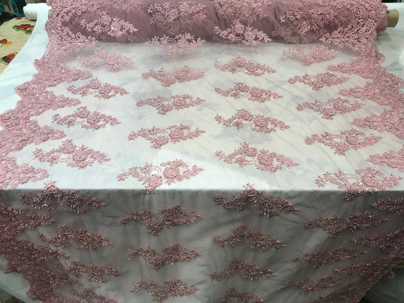 Dusty Rose - Embroidered Mesh Floral Beaded Lace Fabric - IceFabrics