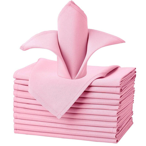Pink Polyester Cloth Napkins 17 x 17 Inch, Set of 1 Dozen - IceFabrics