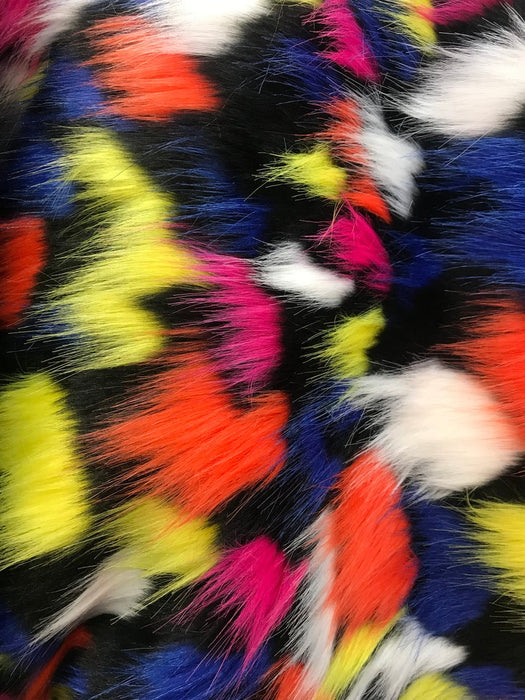 Rainbow Multi color Fake Fur Coats Jackets Bedding Customs Blankets Faux Fur Fabric by the yard Shaggy long pile - IceFabrics