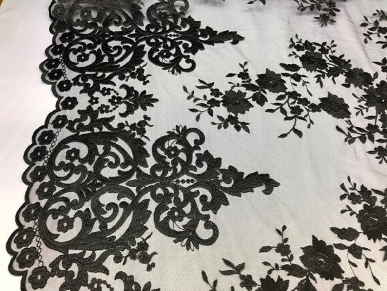 Black Floral Flower Mesh Lace Embroidery Design Fabric By The Yard For Tablecloths, Wedding Prom Dresses, Night gowns, Skirts, Runners