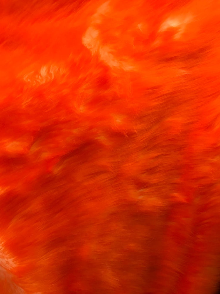 "Shaggy Long Pile Faux Fur Fabric By The Yard 60"" Width Orange AND White Fake Fur Animal skin used for blanket, jackets, coating, customs - IceFabrics"
