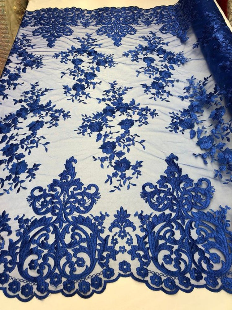 Royal Blue Floral Flower Mesh Lace Embroidery Design Fabric By The Yard For Tablecloths, Wedding Prom Dresses, Night gowns, Skirts, Runners
