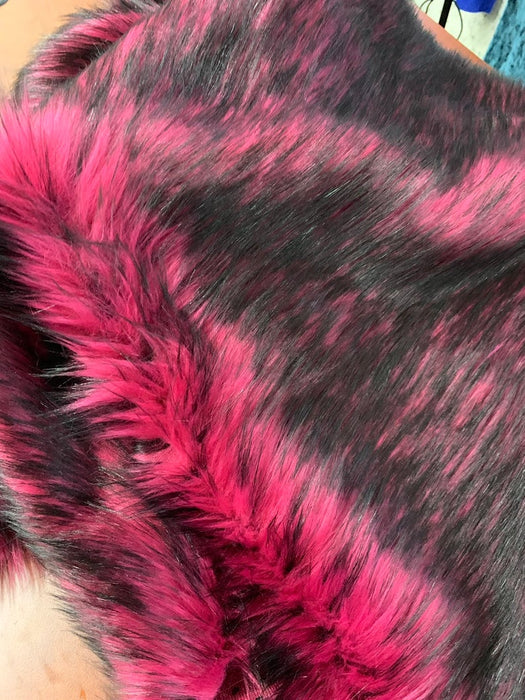 "Thick Heavy Animal Faux Fur Fabric By The Yard Shaggy Long Pile 60"" Width Fake fur (Multi color Black/Pink) Used for Blanket, jackets - IceFabrics"