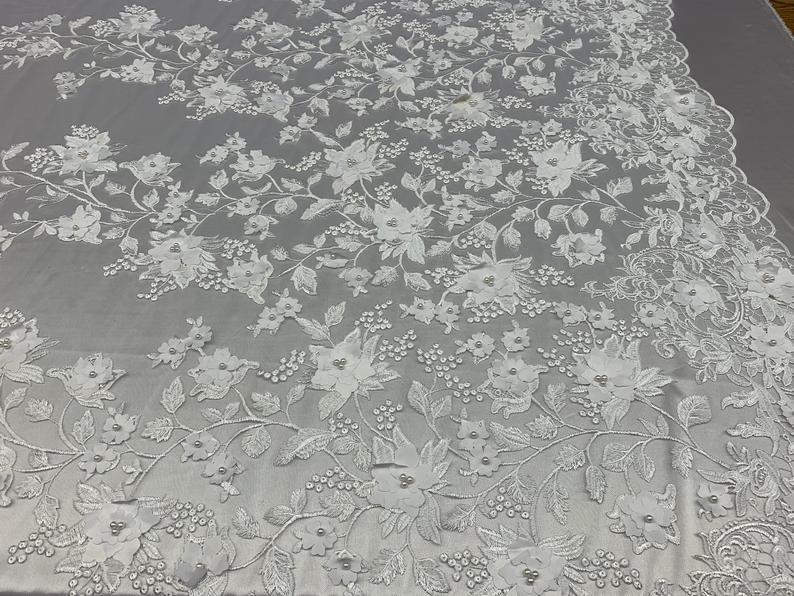 White - HIGH QUALITY Beaded Lace Embroidery Mesh Lace Fabric By The Yard Handmade Floral Lace 3D Flowers Design With Beads And Pearls - IceFabrics