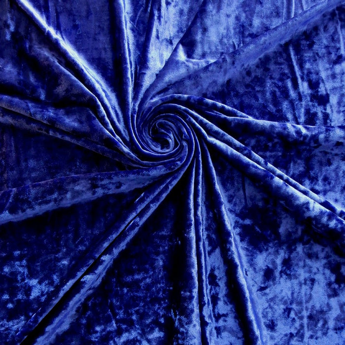 Royal Blue - 58/60 Inch Stretch Crushed Velvet Fabric By The Yard - IceFabrics