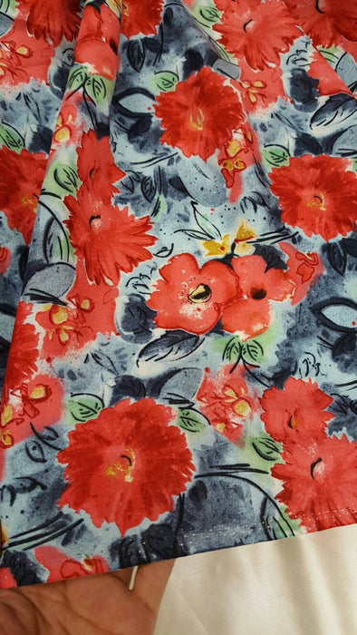 Rayon challis coral flowers on blue background soft flowy organic kids dress draping decoration fabric sold by the yard