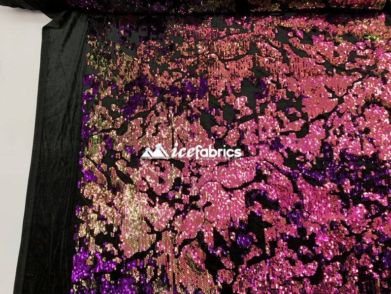 Fuchsia on Black Velvet - Iridescent 2 Way Stretch Embroider Sequins Fabric On Velvet By The Yard - IceFabrics