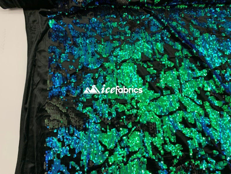 Green Iridescent on Black Velvet - Iridescent 2 Way Stretch Embroider Sequins Fabric On Velvet By The Yard - IceFabrics