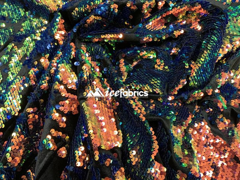 Orange Iridescent on Black Velvet - Iridescent 2 Way Stretch Embroider Sequins Fabric On Velvet By The Yard - IceFabrics