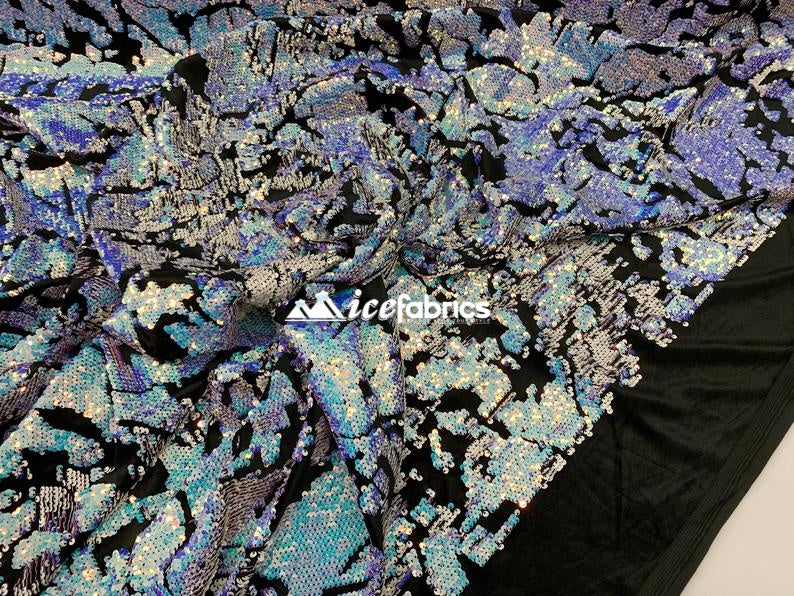 Lavender Blue Iridescent on black velvet - Iridescent 2 Way Stretch Embroider Sequins Fabric On Velvet By The Yard - IceFabrics