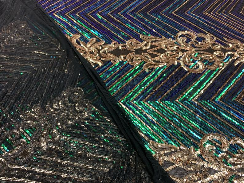 Iridescent Green Fashion Fabric 4 Way Stretch Sequins By The Yard