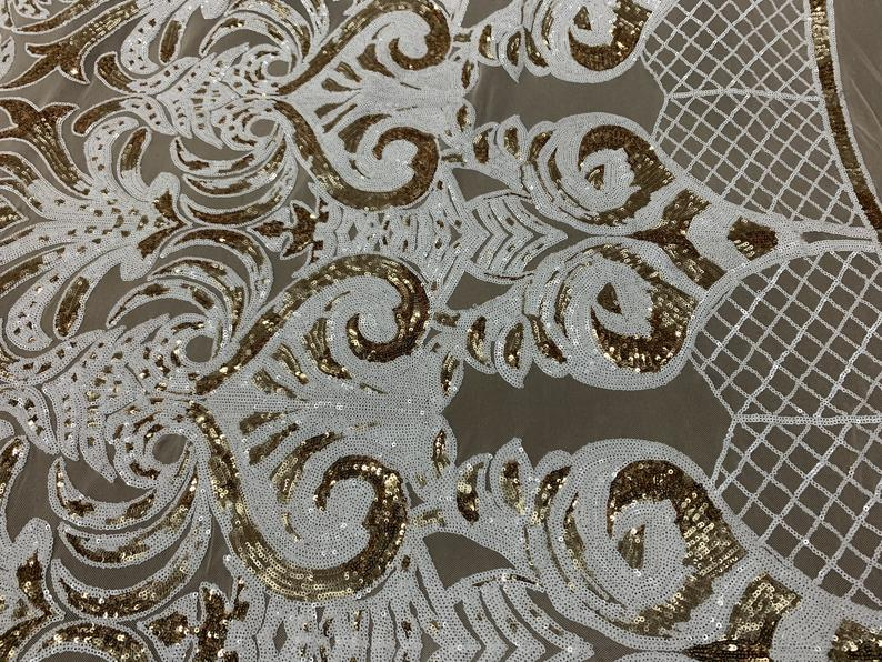 White, Gold Fashion Embroidery Stretch Sequin Fabric By The Yard