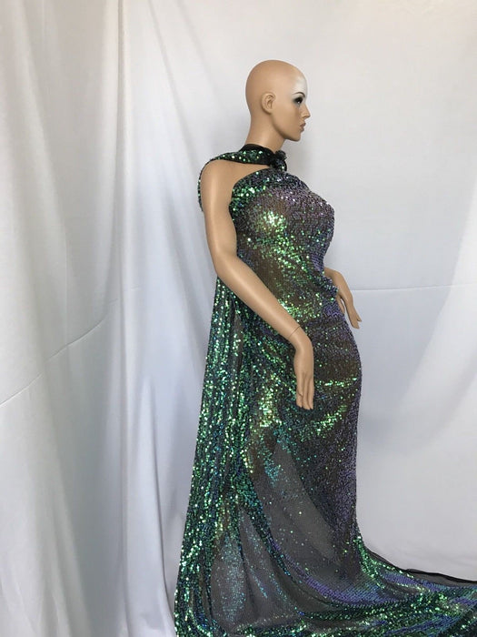 Wedding Top green Sequins mesh lace dress fabric Fashion Prom dress by yard