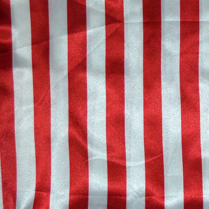 "Red & White - Stripe Bridal Satin Fabric 60"" Wide Made in USA - IceFabrics"