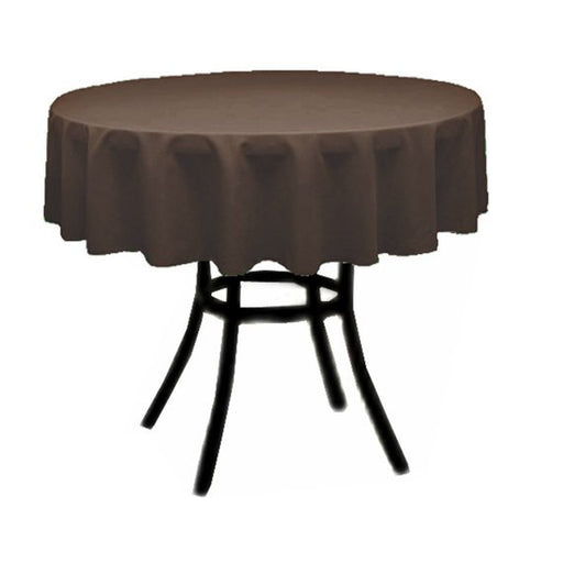 Brown - Polyester Poplin Tablecloth 36-Inch Round, Decoration Shop Prom Wedding Tablecloths - IceFabrics