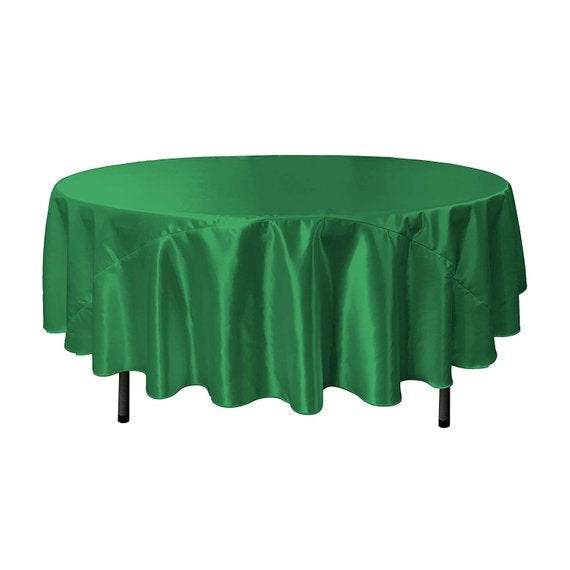 Green Kelly - Bridal Satin Round Tablecloth, 90-Inch, Wedding Prom Decoration Outdoor Birthday Party, DJ Party, And Dining Tables Decor - IceFabrics