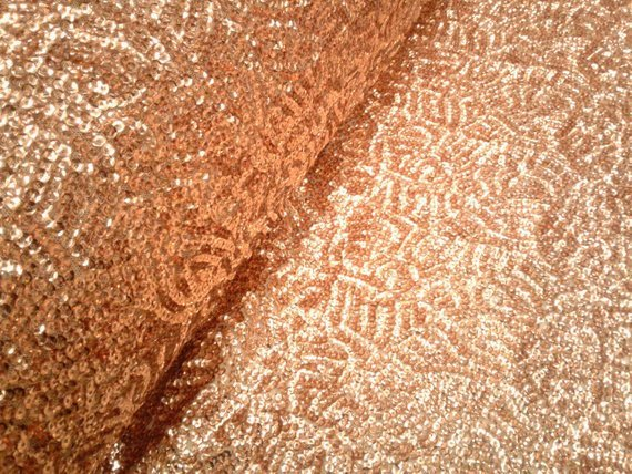 Rose Gold Scale Seaweed Sequins Mesh Fabric by Yard decorations fashion dress runners tablecloths - IceFabrics