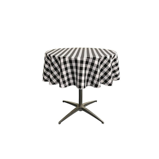 Black/White - Poly Checkered Round Tablecloth, 51-Inch, Decoration, Parties' Decor, Home Decor, Birthday Party's Table Clothes - IceFabrics