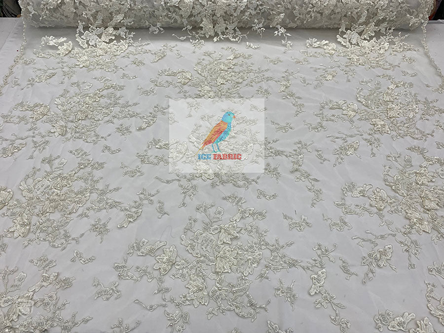 Ivory - KING Design Fashion Bridal Lace//Embroidered Beaded 3D Flowers Lace//Floral Beaded Mesh Lace Fabric By The Yard//Prom Gowns Costumes - IceFabrics