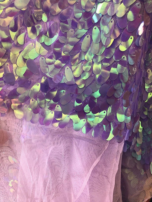 Lilac - Iridescent Oval Tear Drop Sequins Fabric Irisdescent  Mermaid Shiny Fabrics By The Yard - IceFabrics