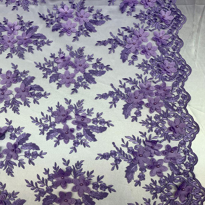 Lavender - 3D Flowers Beaded Mesh Lace Bridal Fabric By The Yard/ Mesh Beaded Embroider Lace Floral Fabric/ Wedding Fabric, Prom Dress, Gowns - IceFabrics